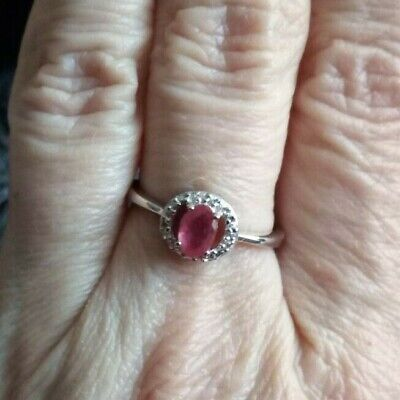 Malagasy Ruby Ring With White Topaz In Sterling Silver 0.46cts • 29.99£