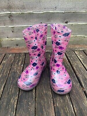 Toddler Girls Pink Flower Wellies Boots Autumn Winter Size 6 • 0.99£