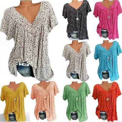 AU17.19 • Buy Womens V Neck Floral Short Sleeve T-shirt Summer Loose Tee Tops Blouse Plus Size