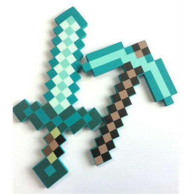 AU35.99 • Buy Minecraft Game Large Diamond Sword Pickaxe EVA Weapons Prop Toy Kids Gift