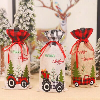 AU4.75 • Buy Christmas  Red Black Grid Tractor  Wine Bottle Cover Champagne Bottle Bag  YK