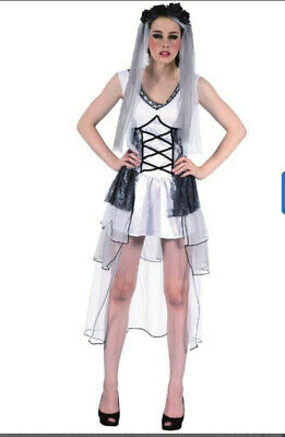 Ladies Deathly Bride DRESS And VEIL  Zombie Halloween Fancy Dress Costume • 8.99£
