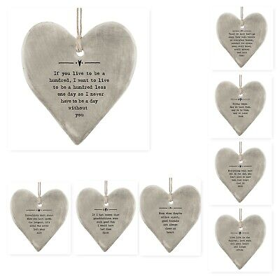 East Of India Rustic Grey Porcelain Heart With Sayings Friends & Family 9x8cm • 6.49£