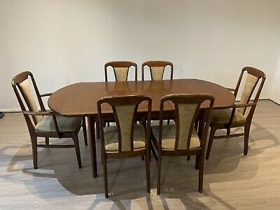 AU125 • Buy Vintage Solid Timber Wood Extendable Dining Table And 6 Chairs