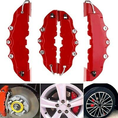 4PCS 3D Red Car Universal Disc Brake Caliper Covers Front & Rear Accessories Kit • 10.93£