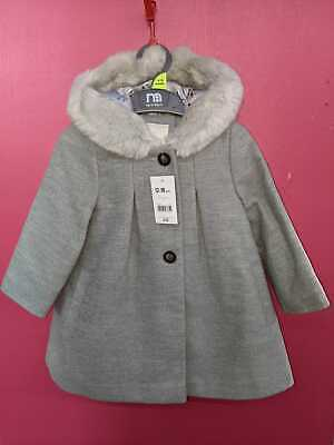 £27 • Buy Mothercare Girls Winter Coat - 12-18 Months - Grey With Faux Fur Hood - New