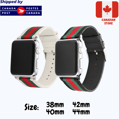 $ CDN19.99 • Buy Bands For Apple Watch Nylon And Leather - Black Green Red - Apple Watch Straps
