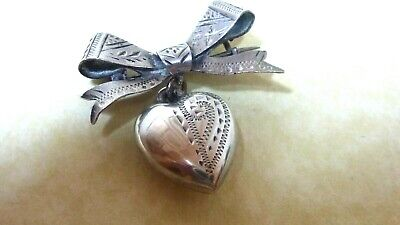Antique Edwardian Sterling Silver  Puffy Heart Pendant Bow Brooch 1910 • 65£
