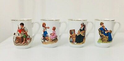 $ CDN34.12 • Buy Vintage Norman Rockwell Museum Coffee Mugs SET OF 4 1982 Gold Trim Collectible