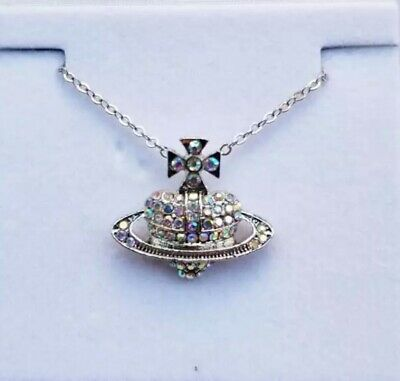 £4.75 • Buy Silver Planet Saturn Heart Crystal Necklace Chain Jewellery