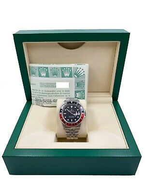 $ CDN21765.85 • Buy Rolex GMT Master II 16760 Fat Lady Coke Red Black Stainless Box Paper UNPOLISHED