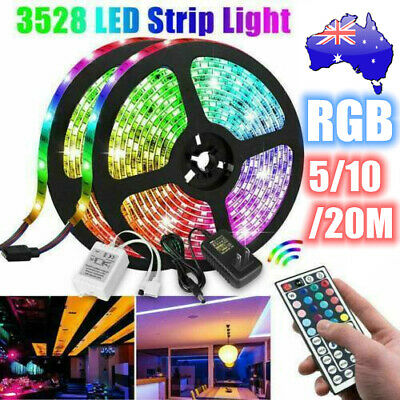 AU24.99 • Buy RGB LED Strip Lights 60LED/M IP33 3528 5/10/20M 12V 44key IR Controller +AU Plug