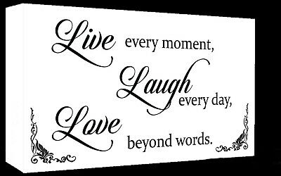 White Live Laugh Love Quote Canvas Wall Art  Picture Print - A1, A2 + Sizes • 16.49£