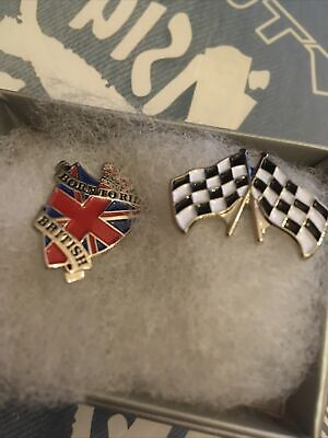 £5 • Buy Pin Badges X2 Born To Ride And Checkered Flags
