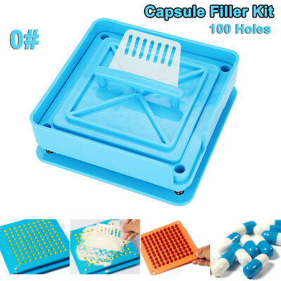 AU18.59 • Buy 100 Holes Manual Food Grade Size 0# Capsule Filling Filler Machine Flate Set Kit