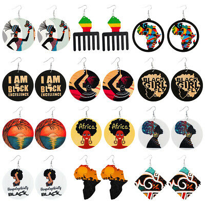 £8.12 • Buy 12 Pairs Set African Woman Afro Wooden Earrings Africa Ethnic Tribal Jewellery