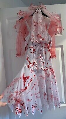 Zombie Bride Costume With Veil, Gloves And Dress. New Without Tags  • 5£