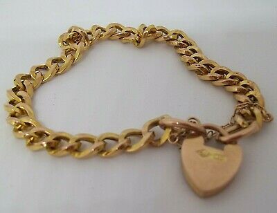 9 Ct 7.14 Grams Yellow Gold Curb Link Bracelet With A 9ct Gold Padlock  • 165£