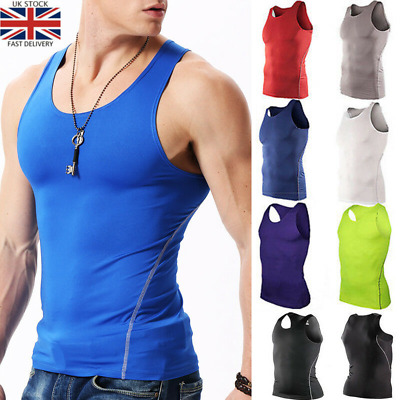 Mens Compression Base Layer Gym Tank Tops Vest Sports Sleeveless Fitness T Shirt • 8.54£
