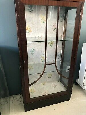 Vintage Glass & Wood Display Cabinet - Perfect Upcycling Project • 10£