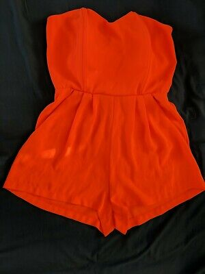 Neon Orange Party Strapless Playsuit Hourglass     • 1.50£