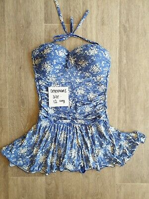 Debenhams Pretty Swimsuit With Skirt 12 Long. Tummy Control. Flattering Floral • 3£