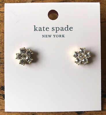 $ CDN31.56 • Buy Kate Spade Earrings Flower Design With Clear Stones In Gold Setting