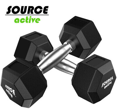 AU201.29 • Buy Source Active Hex Dumbbells Pair 1-15Kg Weights Fitness Exercise Gym Crossfit