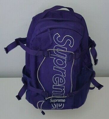 $ CDN438.34 • Buy FW18 Supreme Purple Backpack 3M Reflective Logo 24L Water And Abrasion Resistant
