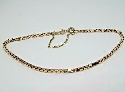 9ct Gold Box Link Bracelet With Safety Chain 3.90 Grams Hallmarked FAB • 95£