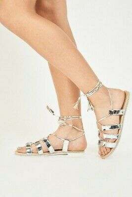 Lace Up Silver Metallic Sandals With Diamante   Affect Around The Heel & Bottom  • 6.49£