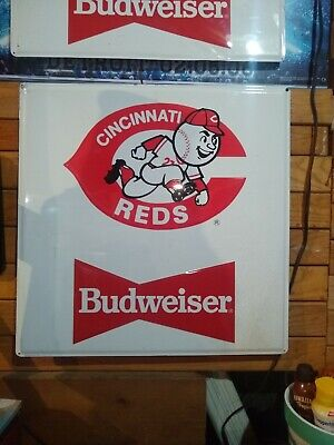 $ CDN127.17 • Buy Cincinnati Reds Budweiser Baseball MLB Metal Tin Stout Sign Co