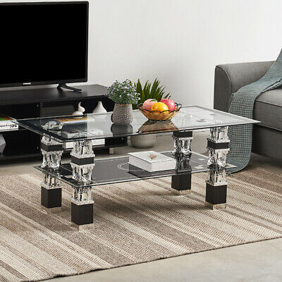 Rectangle Tempered Glass Top Chrome Leg Living Room Coffee Table Lower Shelf • 52.99£