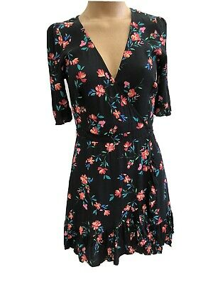 AU20 • Buy ZARA Women's Floral Mini Wrap Dress Black Aus 8