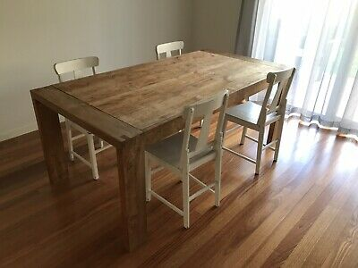 AU29.99 • Buy Solid Oak Timber Dining Table Plus 4 Timber Chairs