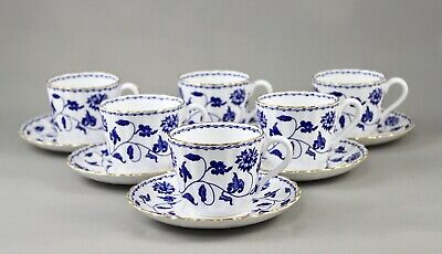 Spode China England Blue Colonel Y6235 Tea Or Coffee Cups & Saucers X 6 Perfect • 95£