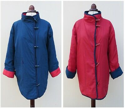 Vintage Handmade Clothkits Blue & Red Reversible Quilted Coat,size Approx 14 • 60£