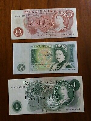 10 Shilling Note And 2 Old £1 One Pound Notes. • 6.50£
