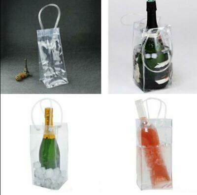 Ice Wine Bags PVC TRANSPARENT Cooler Clear Pouch With Handle • 3.99£