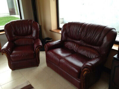 3 Piece Suite,  3 Setter Sofa (2  Armchair)  Leatherett, 14 Months Old Top Cond • 150£
