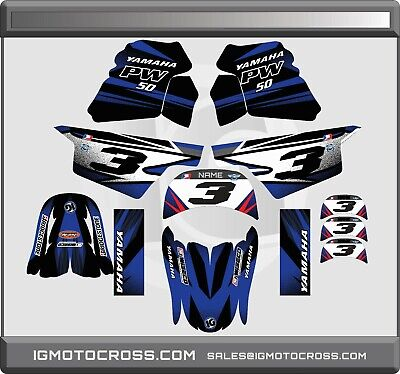 $ CDN71.36 • Buy YAMAHA PW 50 PW50  GRAPHICS KIT DECALS  Fits Years 1985 - 2021 BLUE Black