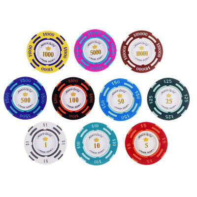 £4.99 • Buy 10pcs Poker Chips Casino Coins Clay Poker Chips Gambling Texas Table Games