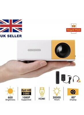 YG300 1080P Home Theater Cinema USB HDMI AV SD Mini Portable HD LED Projector UK • 20£