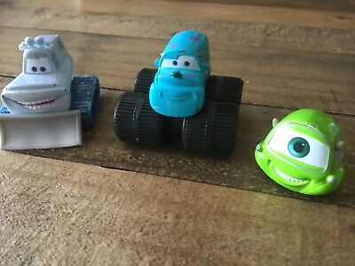 Disney Cars Diecast Toys - Monsters Inc Sulley, Mike & Yeti - Rare • 2.50£
