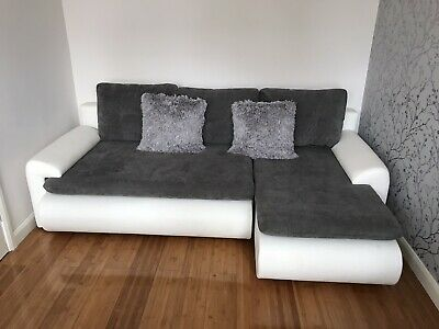 Corner Sofa Bed With Storage In Gray White • 155£