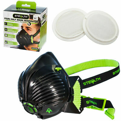 STEALTH P3 Respirator Facemask With Twin HEPAC Filters | Half-mask | Face Mask • 27.76£