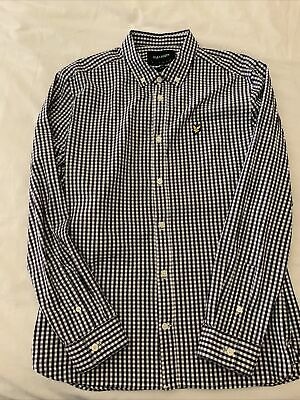 Lyle And Scott Gingham Shirt Navy & White - Long Sleeve Slim Fit Cotton Large. • 0.99£