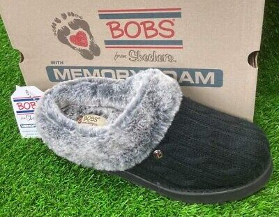 Skechers Ladies Size 7. Bobs Ice Angel Slip On Slippers Memory Foam Fur Lined • 39.99£