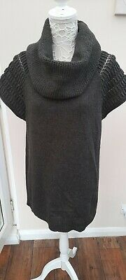 Ladies Mint Velvet Cap Sleeved  Knited Tunic Top Size 16 In Grey With Large Roll • 19.99£