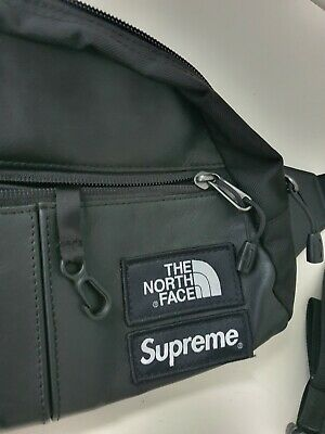 $ CDN482.17 • Buy FW17 Supreme X The North Face Black Leather Roo II Lumbar Pack Waist Bag TNF